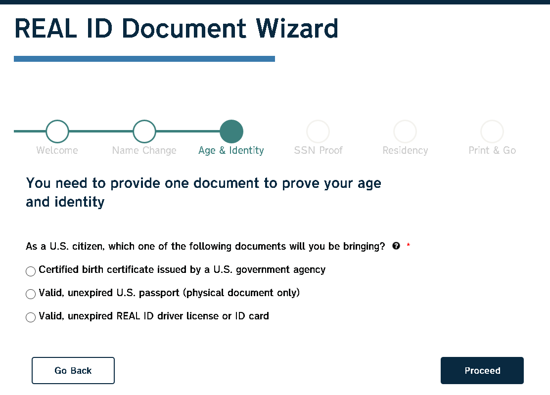 Screenshot from NCDMV Real ID Wizard
